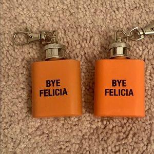Two Mini Flask Keychains